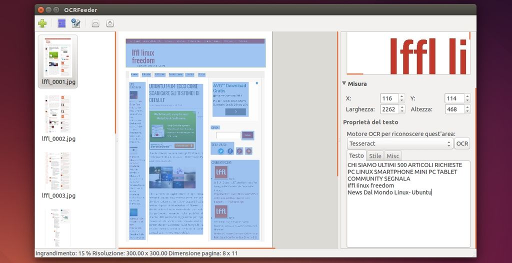 OCRFeeder in Ubuntu Linux