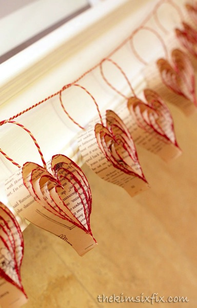 Book page heart garland