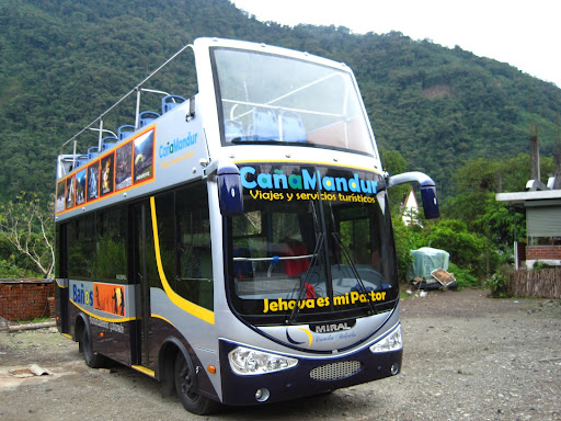 The open top tour bus for exploring the Route of the Waterfalls