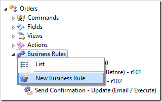New Business Rule context menu option in the Project Explorer