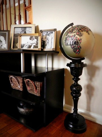 diy typographical globe with pedestal
