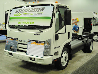 Utilimaster displayed a CNG-fueled Isuzu NPR with Landi Renzo USA fuel system at the at the Work Truck Show in Indianapolis.