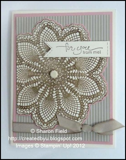 hello doily card with a word for you sentiment and dsp 5/3/12