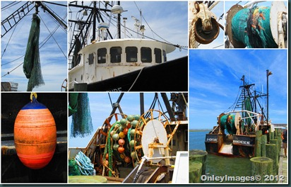 fishing boat collage