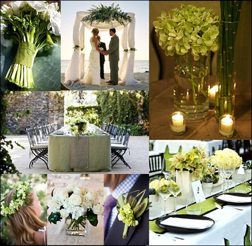 branco e verde casamento