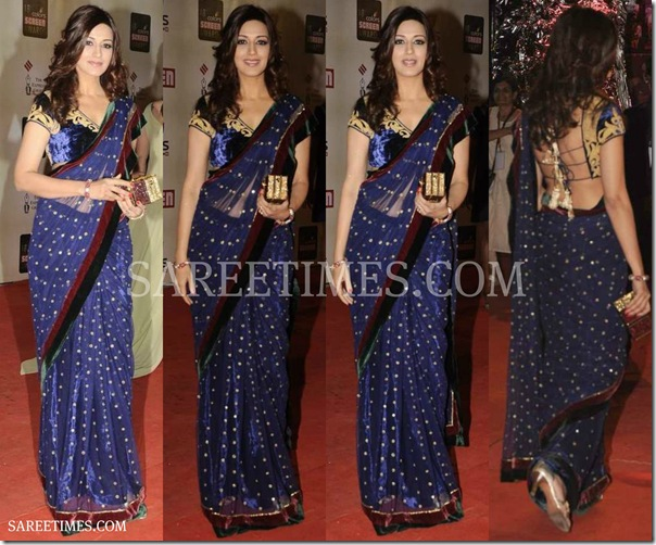 Sonali_Bendre_Blue_Saree