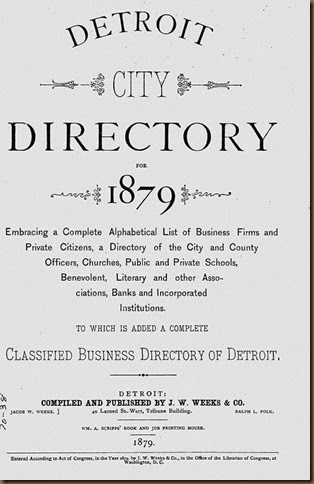 Detroit city directory title page 1879