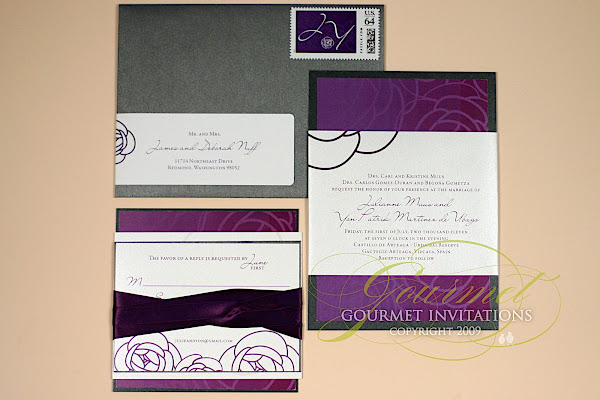 Purple and charcoal wedding invitations, slate grey and purple wedding invitation, dual language wedding invitations, spanish english wedding invitation, camellia flower wedding invitation, two languages on wedding invitations, ideas for two languages on wedding invitation, arteaga castle wedding, castillo de arteaga wedding, spanish castle wedding