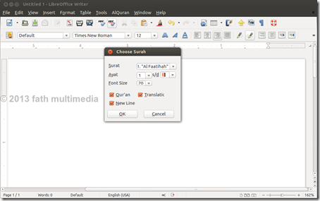 LibreOffice Writer_AlQuran menu