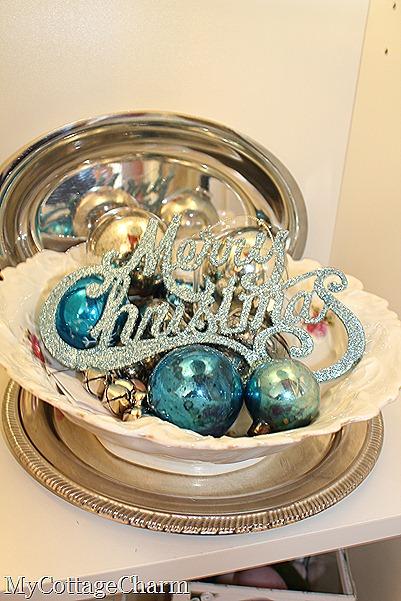 aqua vintage ornaments