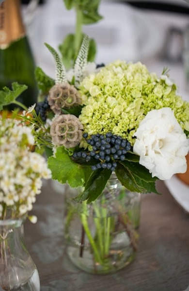 Mason Jar Centerpiece with Navy Berries HL  Melissa Becky Photography and cori cook