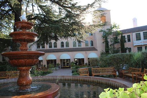 The glamorous Fairmont Sonoma Mission Inn and Spa. Every night, they have a big fire in this courtyard so guests can roast s'mores!