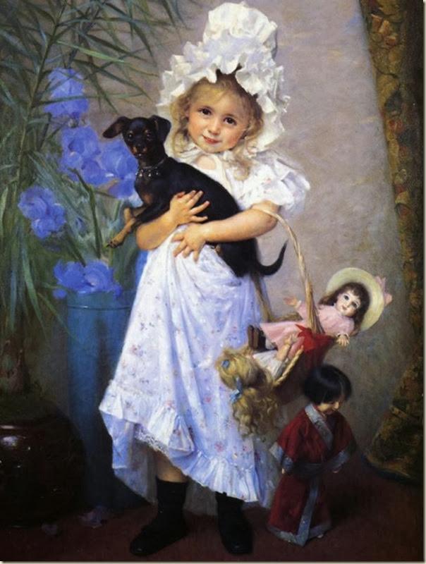 Francine Charderon, Portrait de fillette avec ses poupées