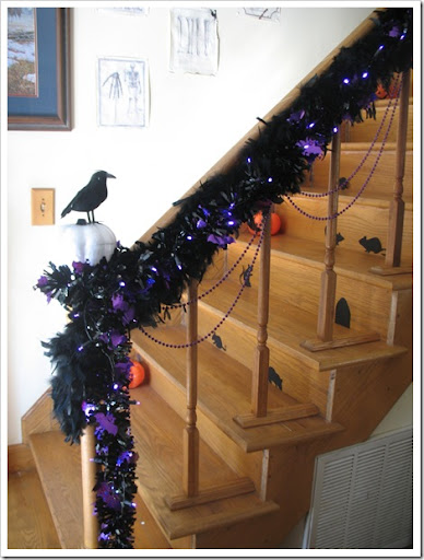 Mama Bought Black And Purple Tinsel And Two Strands Of Purple LED Lights!  And I Raided The Halloween Boxes And Discovered Some Purple Beads That ...