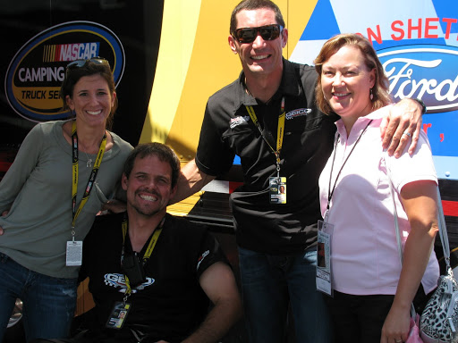 Tati Papis, Bootie Barker & Max Papis pose with me at their hauler.