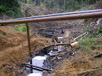 An oil spill on Timu Entsa creek in Oil Block 1-AB
