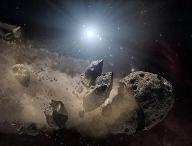 ilustração de um asteroide se despedaçando no espaço