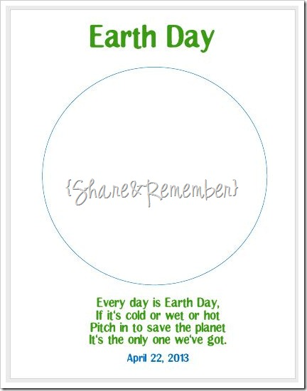 Earth Day Art Project Template