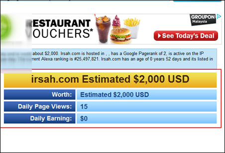 www.irsah.com website value, information, statistics ,keywords, traffic, and earnings 1