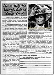"FALCON CREST - Abby Dalton: ""Please help me save my role on Falcon Crest"""
