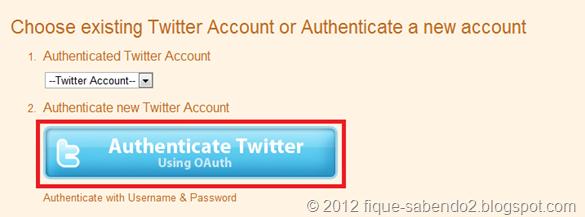Clique em Authenticate Twitter