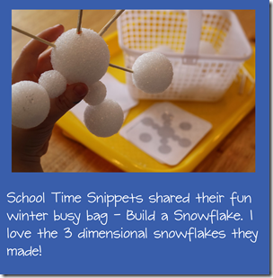 3 Dimensional snowflake busy bag from school time snippets