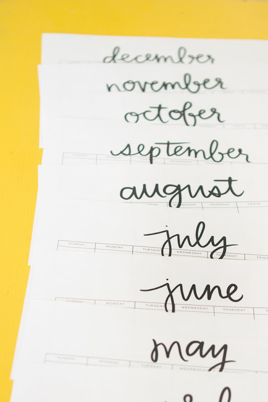 Hand lettered calendar printable from www.alexamariezurcher.com