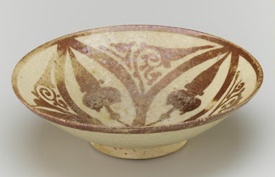Earthenware painted with luster | Origin:  Egypt | Period: 11th-12th century  Fatimid period | Details:  Not Available | Type: Glazed clay | Size: H: 6.3  W: 21.3  cm | Museum Code: F1966.26 | Photograph and description taken from Freer and the Sackler (Smithsonian) Museums.