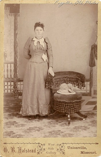 Cabinet Card Lady with hat on the chair motley Antique shop