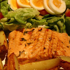 Marinated Roasted Salmon Potato Salad