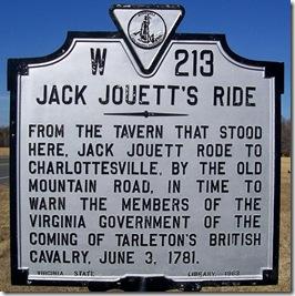 Jack Jouett's Ride marker W-213 in Lousia County, VA