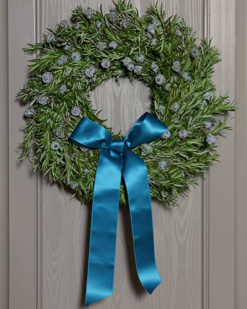 Having a beautiful rich blue ribbon will stand out on any wreath.