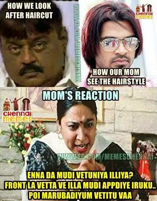 Parents Reaction After Seeing My Hair Cut Funny Tamil Jokes Memes