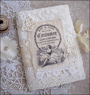Fabric and Lace Needle Book with Vintage Image