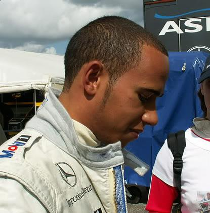 Lewis Hamilton buzz cut with long sideburns