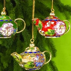 Chinese cloisonne teapot Christmas ornament