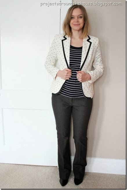 Polka dot blazer with stripes and boot cut dress pants