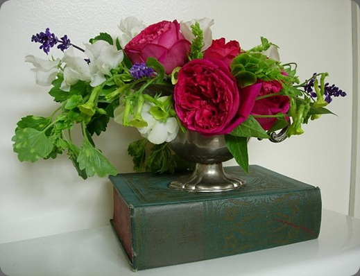 DSCN1563 Sweet Peas, Roses, Nicotiana, Salvia and Bells of Ireland, all fresh from the garden. wildstyle designs