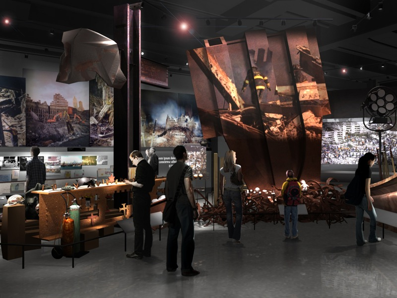 18 45 Museum Design Study WTC site recovery efforts Courtesy Thinc Design with Local Projects