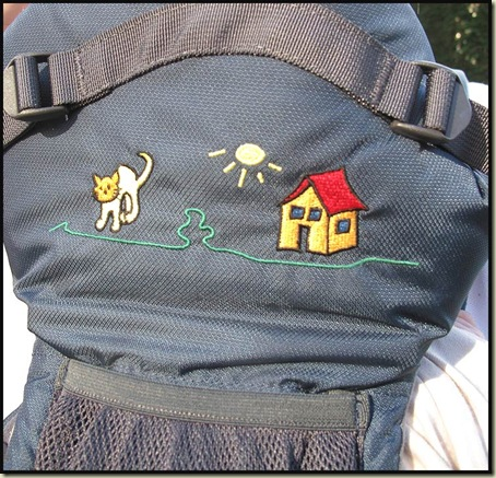 Vaude Soft 111 Baby Carrier, showing motif and dog biscuit pocket