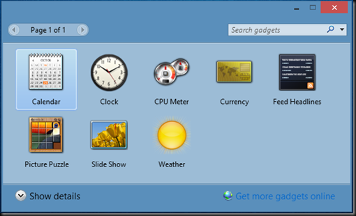 preview menu gadget