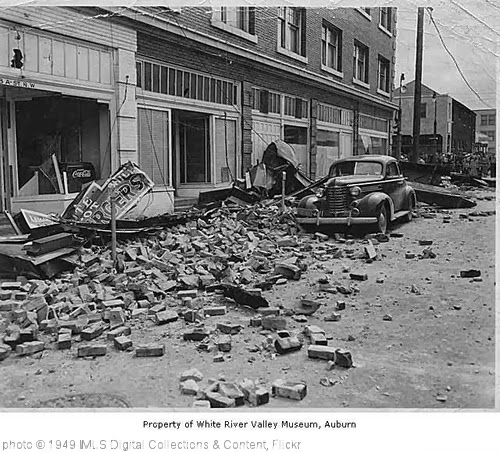 'Earthquake scene, Auburn, April 13, 1949' photo (c) 1949, IMLS Digital Collections & Content - license: http://creativecommons.org/licenses/by/2.0/