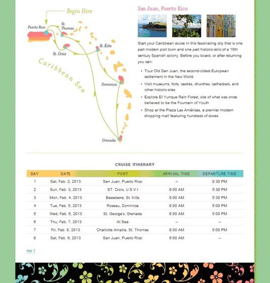 2013 Cruise Itinerary
