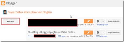 Blogger Kontrol Paneli