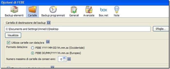 Indicare cartella di destinazione dove salvare il backup di Firefox