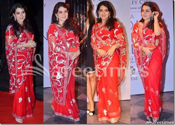 Shaina_NC_Red_Net_Saree