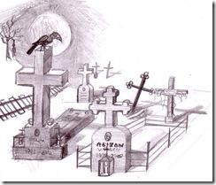Cimitir desen in creion
