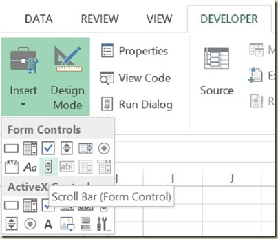 Form Controls in Excel - Select Scroll Bar