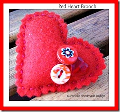 Red heart brooch