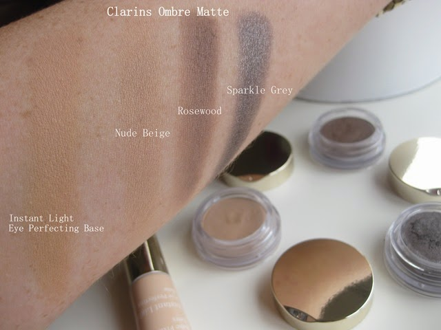 Clarins-Ombre-Matte-Eyeshadows-Nude-Beige,Rosewood, Sparkle-Grey-swatches-swatched-Instant-Light-Perfecting-Eye-Base